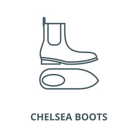 Chelsea boots line icon, vector. Chelsea boots outline sign, concept symbol, illustration Archivio Fotografico - 123749726