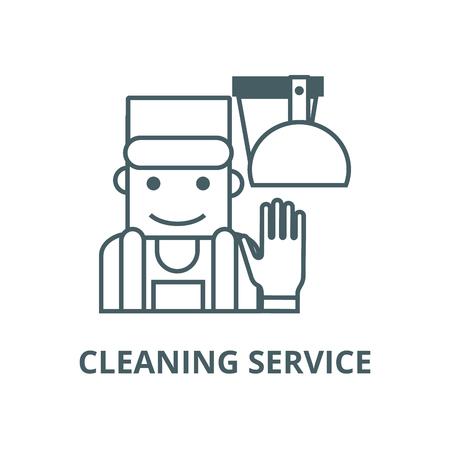 Cleaning service illustration line icon, vector. Cleaning service illustration outline sign, concept symbol, illustration