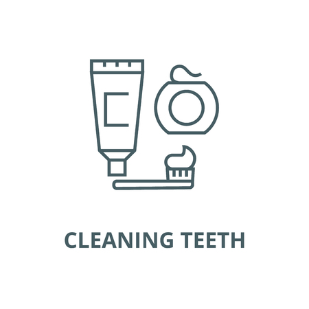 Cleaning teeth,brush, toothpaste,  line icon, vector. Cleaning teeth,brush, toothpaste,  outline sign, concept symbol, illustration