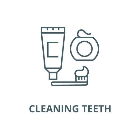 Cleaning teeth,brush, toothpaste,  line icon, vector. Cleaning teeth,brush, toothpaste,  outline sign, concept symbol, illustration