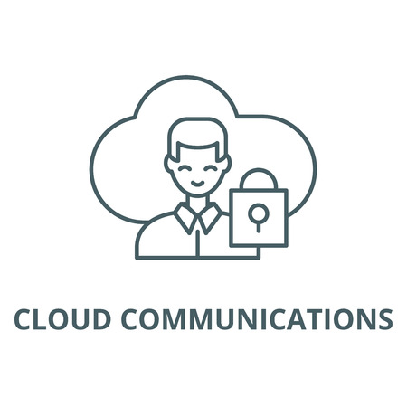 Cloud communications line icon, vector. Cloud communications outline sign, concept symbol, illustration Banco de Imagens - 120717382