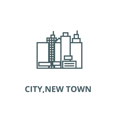 City,new town  line icon, vector. City,new town  outline sign, concept symbol, illustration