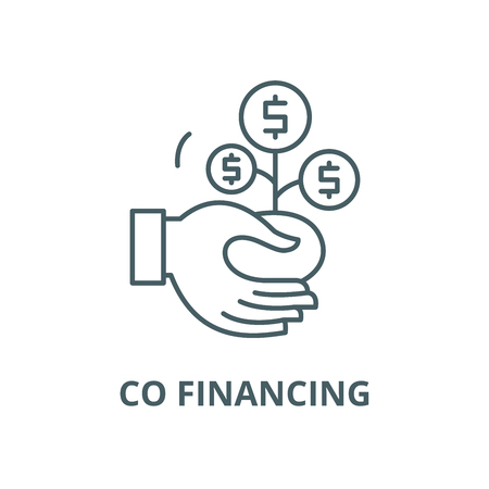 Co financing line icon, vector. Co financing outline sign, concept symbol, illustration