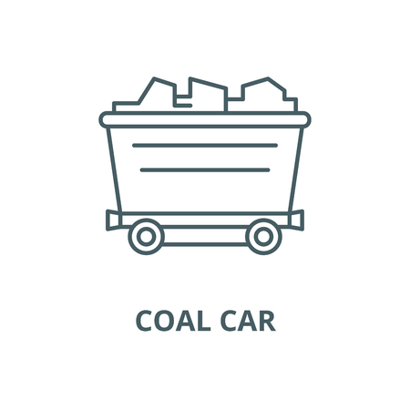 Coal car line icon, vector. Coal car outline sign, concept symbol, illustration