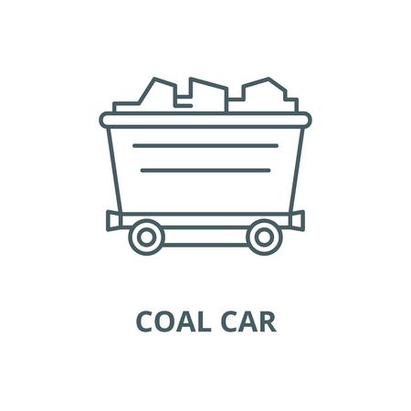Coal car line icon, vector. Coal car outline sign, concept symbol, illustration