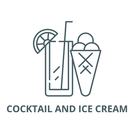Cocktail and ice cream line icon, vector. Cocktail and ice cream outline sign, concept symbol, illustration
