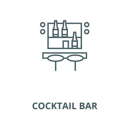Cocktail bar line icon, vector. Cocktail bar outline sign, concept symbol, illustration