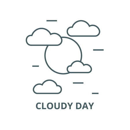Cloudy day line icon, vector. Cloudy day outline sign, concept symbol, illustration Stock Illustratie
