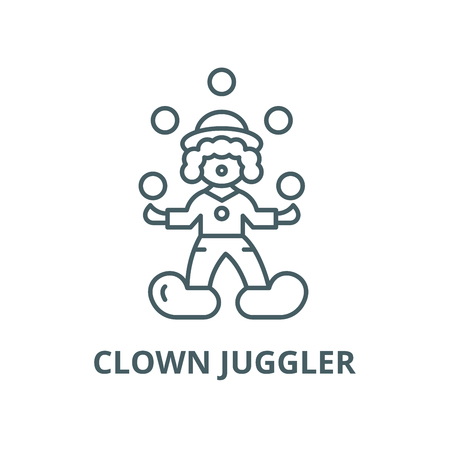 Clown juggler line icon, vector. Clown juggler outline sign, concept symbol, illustration Stock Illustratie