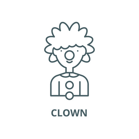 Clown line icon, vector. Clown outline sign, concept symbol, illustration 向量圖像