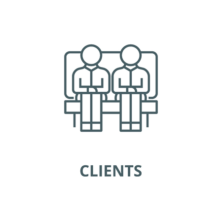 Clients,two men on sofa,partners line icon, vector. Clients,two men on sofa,partners outline sign, concept symbol, illustration Stock Illustratie