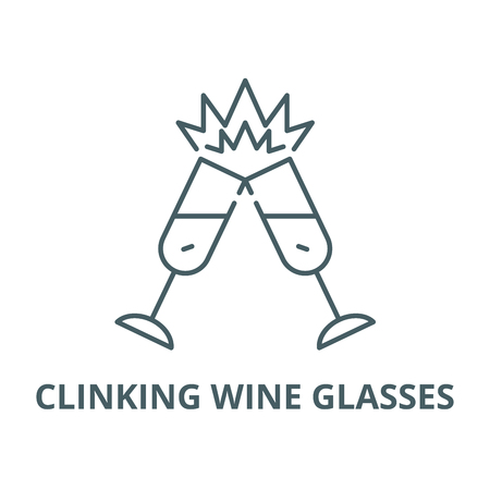 Clinking wine glasses line icon, vector. Clinking wine glasses outline sign, concept symbol, illustration