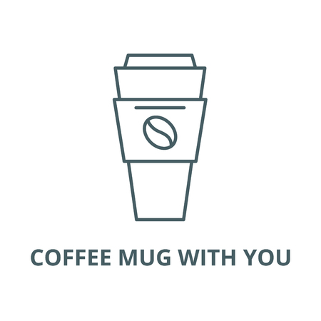Coffee mug with you line icon, vector. Coffee mug with you outline sign, concept symbol, illustration Archivio Fotografico - 123749761