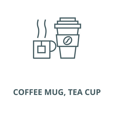 Coffee mug, tea cup line icon, vector. Coffee mug, tea cup outline sign, concept symbol, illustration