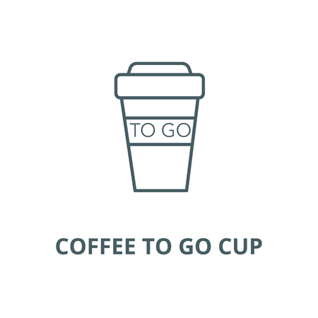 Coffee to go cup line icon, vector. Coffee to go cup outline sign, concept symbol, illustration