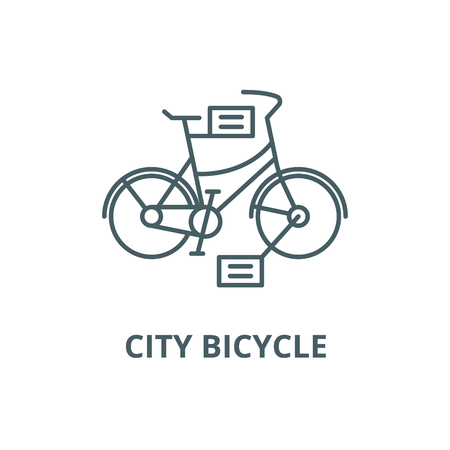 City bicycle line icon, vector. City bicycle outline sign, concept symbol, illustration