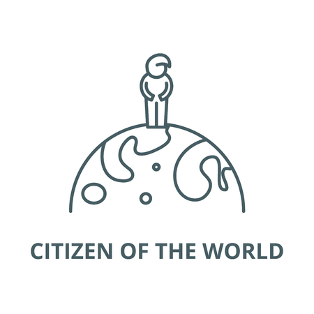 Citizen of the world line icon, vector. Citizen of the world outline sign, concept symbol, illustration