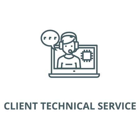 Client technical service line icon, vector. Client technical service outline sign, concept symbol, illustration