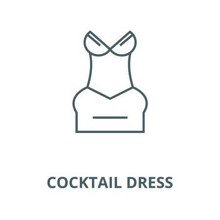 Cocktail dress line icon, vector. Cocktail dress outline sign, concept symbol, illustration 向量圖像