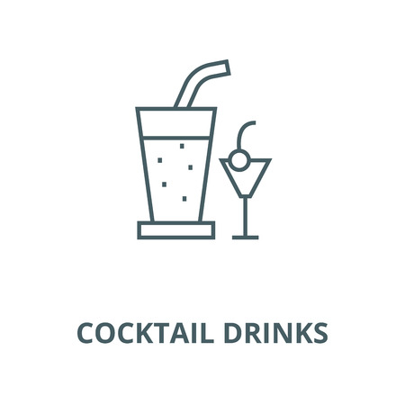 Cocktail drinks line icon, vector. Cocktail drinks outline sign, concept symbol, illustration 写真素材 - 123749776