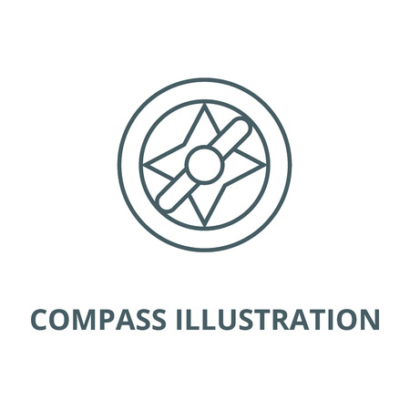 Compass illustration line icon, vector. Compass illustration outline sign, concept symbol, illustration