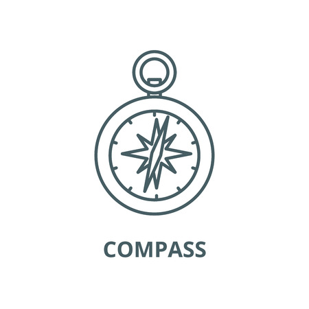 Compass line icon, vector. Compass outline sign, concept symbol, illustration Иллюстрация