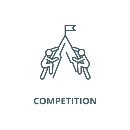 Competition concept, flag and mo line icon, vector. Competition concept, flag and mo outline sign, concept symbol, illustration