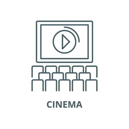 Cinema screen, show line icon, vector. Cinema screen, show outline sign, concept symbol, illustration 向量圖像