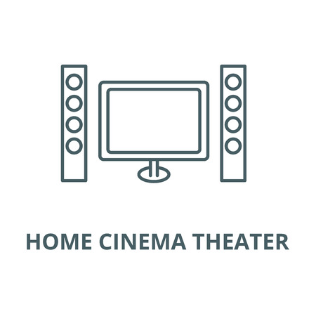 Cinema, home theater line icon, vector. Cinema, home theater outline sign, concept symbol, illustration