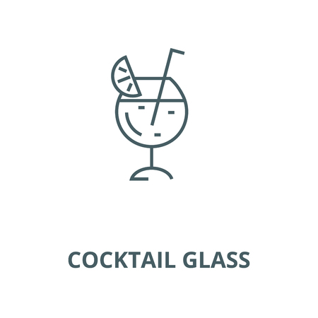 Cocktail glass line icon, vector. Cocktail glass outline sign, concept symbol, illustration Stock Vector - 123749794