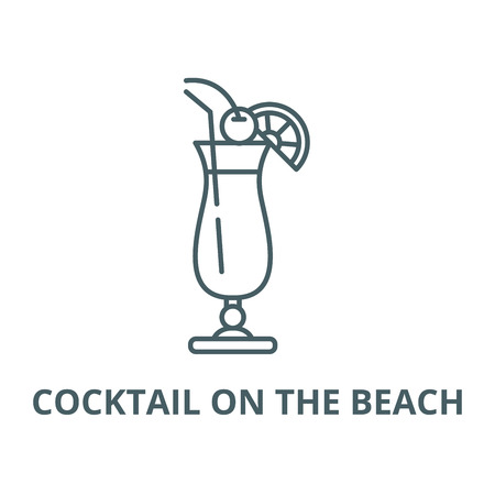 Cocktail on the beach line icon, vector. Cocktail on the beach outline sign, concept symbol, illustration Illustration