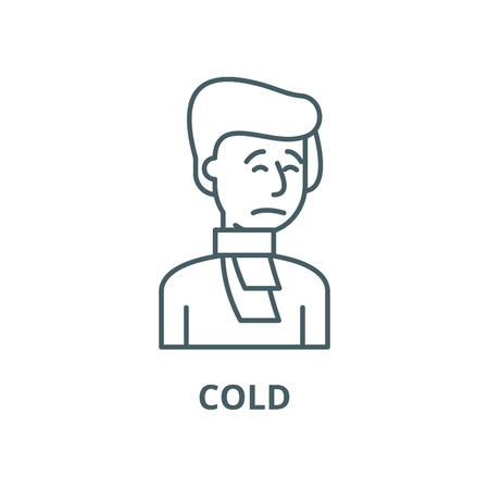 Cold line icon, vector. Cold outline sign, concept symbol, illustration Иллюстрация