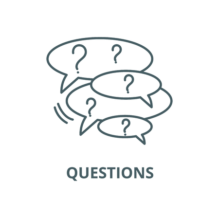 Collection of questions line icon, vector. Collection of questions outline sign, concept symbol, illustration