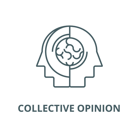 Collective opinion,thinking line icon, vector. Collective opinion,thinking outline sign, concept symbol, illustration