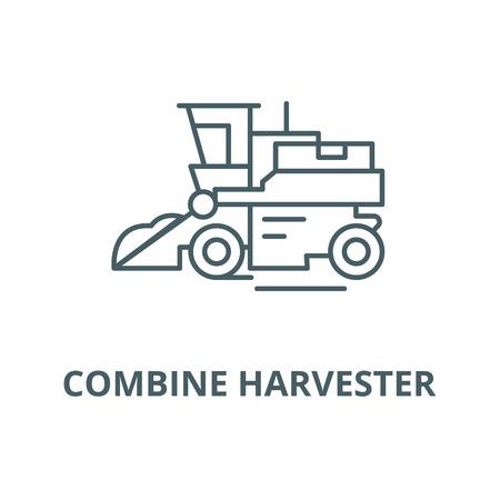Combine harvester line icon, vector. Combine harvester outline sign, concept symbol, illustration