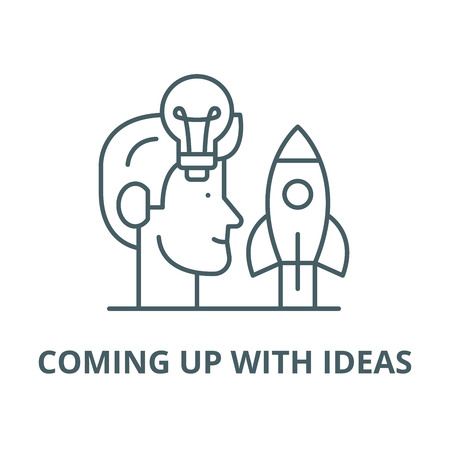 Coming up with ideas line icon, vector. Coming up with ideas outline sign, concept symbol, illustration Illustration