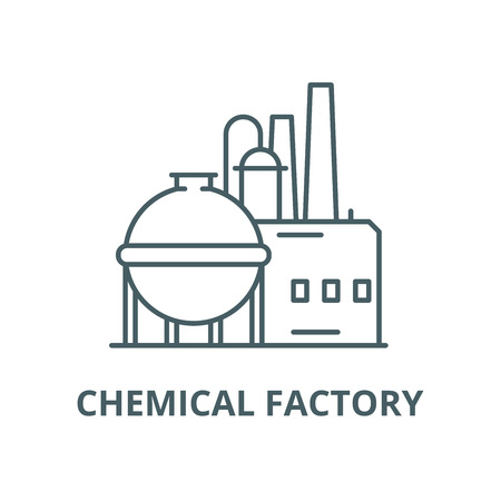 Chemical factory line icon, vector. Chemical factory outline sign, concept symbol, illustration Illustration