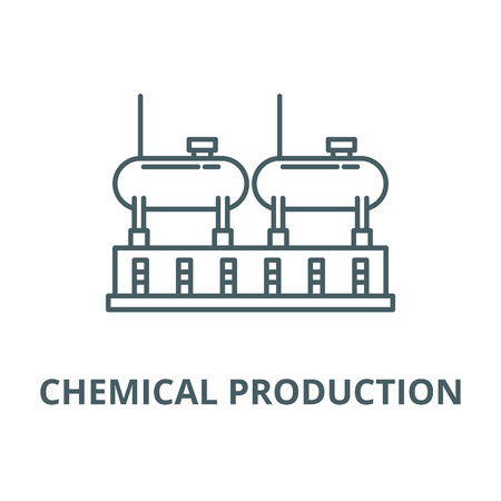 Chemical production line icon, vector. Chemical production outline sign, concept symbol, illustration Illustration