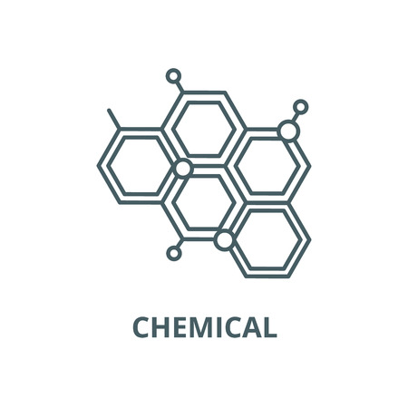 Chemical line icon, vector. Chemical outline sign, concept symbol, illustration  イラスト・ベクター素材
