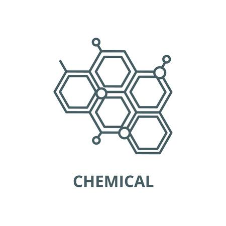 Icono de línea química, vector. Signo de esquema químico, símbolo conceptual, Ilustración
