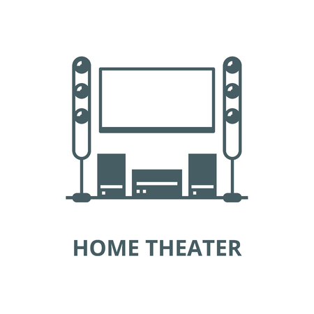 Cinema room,home theater line icon, vector. Cinema room,home theater outline sign, concept symbol, illustration