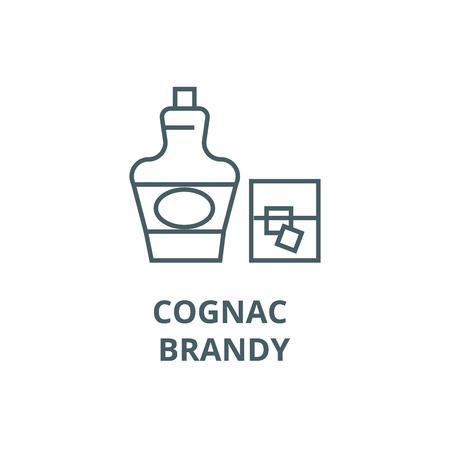 Cognac, brandy line icon, vector. Cognac, brandy outline sign, concept symbol, illustration Illustration