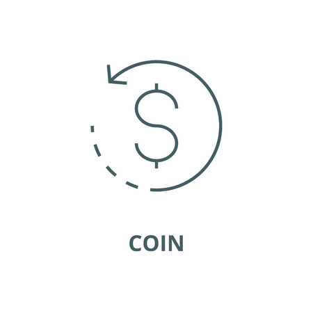 Pièce de monnaie avec l'icône de la ligne de flèche ronde, vecteur. Pièce de monnaie avec signe de contour de flèche ronde, symbole de concept, illustration