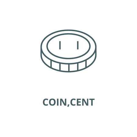 Coin,cent line icon, vector. Coin,cent outline sign, concept symbol, illustration Çizim