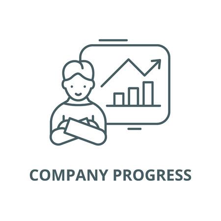 Company progress line icon, vector. Company progress outline sign, concept symbol, illustration