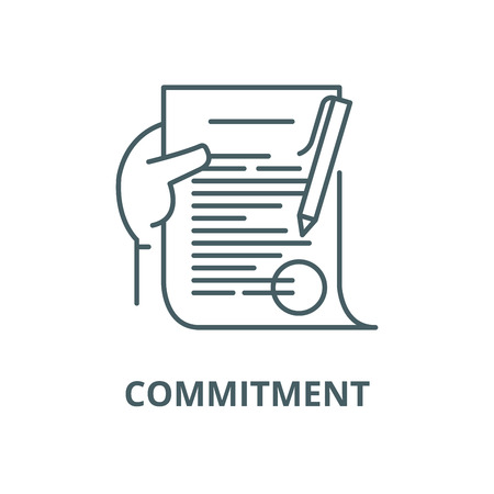 Commitment line icon, vector. Commitment outline sign, concept symbol, illustration