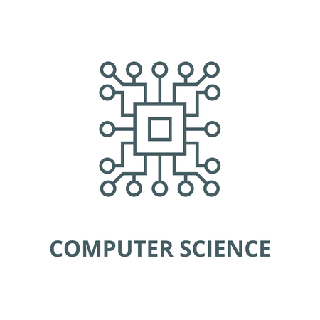 Computer science,circuit line icon, vector. Computer science,circuit outline sign, concept symbol, illustration Illustration