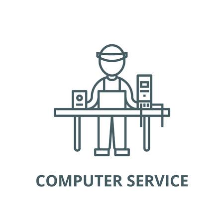 Computer service,pc specialist,enigneer line icon, vector. Computer service,pc specialist,enigneer outline sign, concept symbol, illustration Ilustração