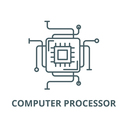 Computer processor line icon, vector. Computer processor outline sign, concept symbol, illustration