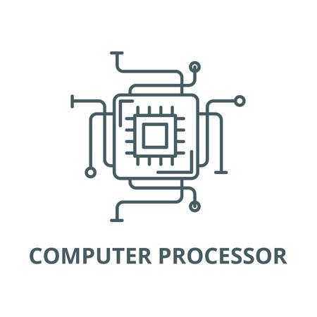 Icono de línea de procesador de computadora, vector. Signo de esquema de procesador de computadora, símbolo de concepto, Ilustración Ilustración de vector